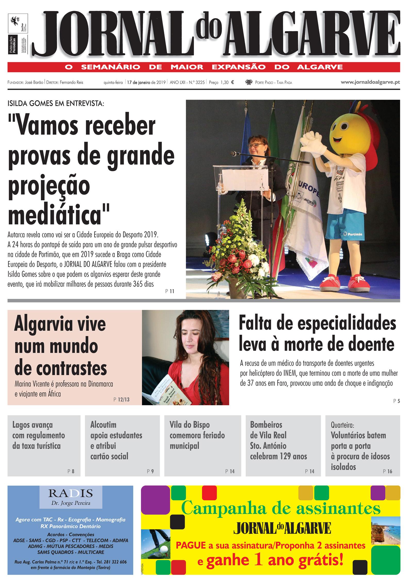 Jornal do Algarve de 17 de Janeiro de 2019